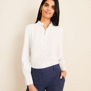 *new* Ann Taylor Ruffle Neck Blouse